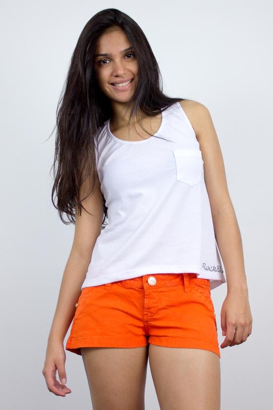 Regatinha transparente Branco e Shorts Color Laranja