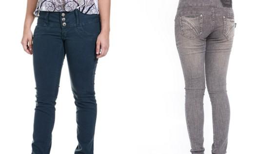 Calça com tom verde exército skinny e calça escura cigarrete! Duas tendências em dois modelos diferentes.